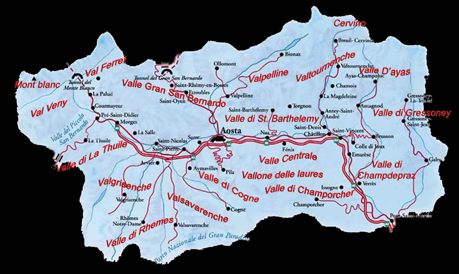 Cartina Geografica Piemonte Valle D Aosta.Montagneinvalledaosta Com Mappa Della Regione Valle D Aosta