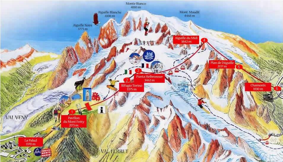 Chamonix Cartina Geografica.Montagneinvalledaosta Com Traversata Monte Bianco